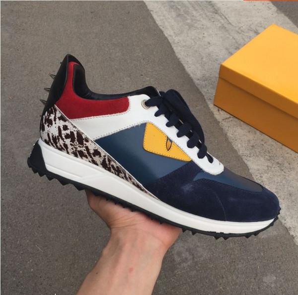 2018 Top Qualité FD De Luxe FUN FUR chaussures de designer baskets en cuir véritable Cadeau hommes femmes Racer Hot vente Sports occasionnels bottes Nouveau