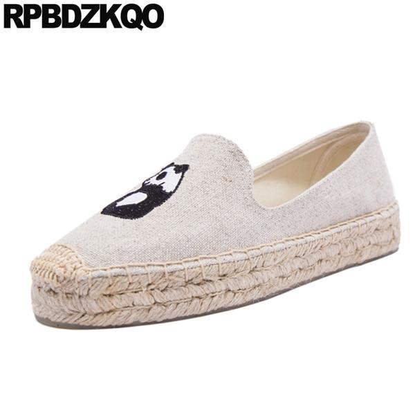 Büyük Boy Espadrilles Karpuz Loafer'lar Kadın Platformu Kot Kore Karikatür Creepers Beyaz Kanvas Ayakkabılar Nakış Denim
