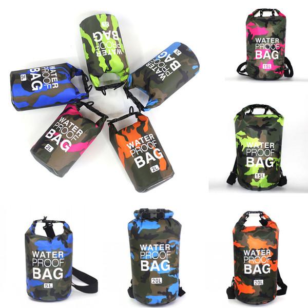 Outdoor Camouflage Bag Waterproof Floating Backpack Boating Kayaking PVC Waterproof Dry Bags Lightweight Camping Swimming Travel Bag M240Y