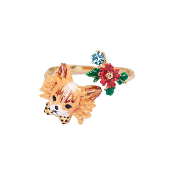 Autumn Winter Series Chihuahua Cute Dog Flower Enamel Ring 2018 Women Fashion Charm Vintage Jewelry Anelli Donna Anel Anillos