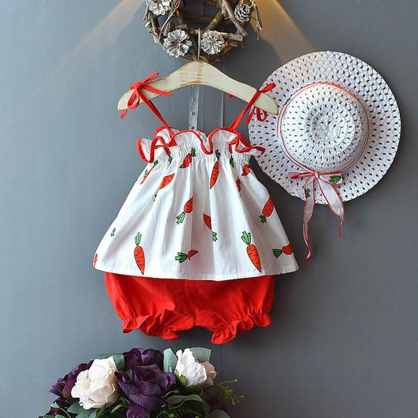 дети дизайнер одежды костюмы девочек детские наборы 3шт/набор детей летняя одежда для девочек танк+шорты+шляпы пляжные костюмы детская одежда A5695