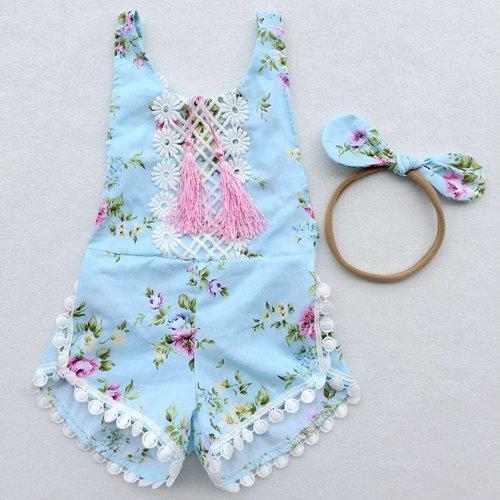 детские летние комбинезоны с цветочными бахромами + банты повязки на голову хлопчатобумажные новорожденные детские одежда для девочек бутик одежды кружева