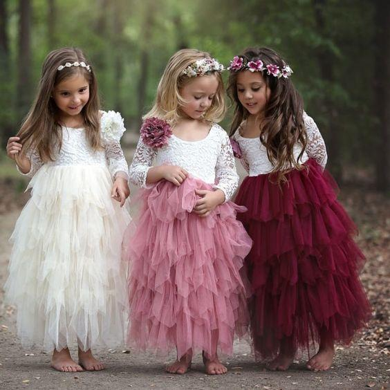 top popular 2020 Lovely Princess Flower Girl Dresses Jewel Lace Applique Flowers Girls Pageant Dresses For Toddlers Children A Line Kids Birthday Dress 2021