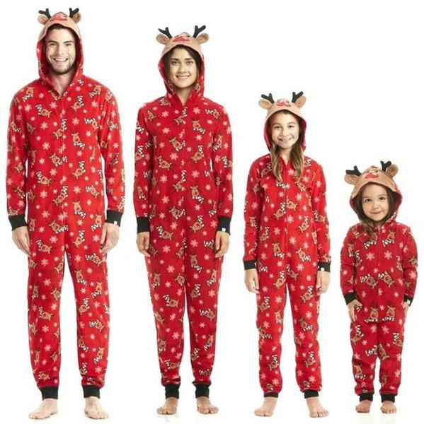 Mode Belle confortable coton famille mamans correspondant à Noël pyjamas pyjamas ensembles de Noël cadeau de Noël vêtements de nuit vêtements de nuit tenue vêtements rouge