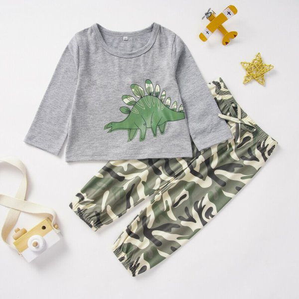 Newborn Baby Boy Long Sleeves Tops Kid Dinosaur Trousers Pants Tracksuit Outfits