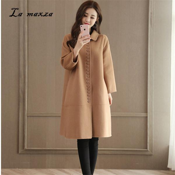 Woman Coats Winter Wool Long Coat 2018 Warm Vintage Fashion Korean Camel Ladies Coats Plus Size