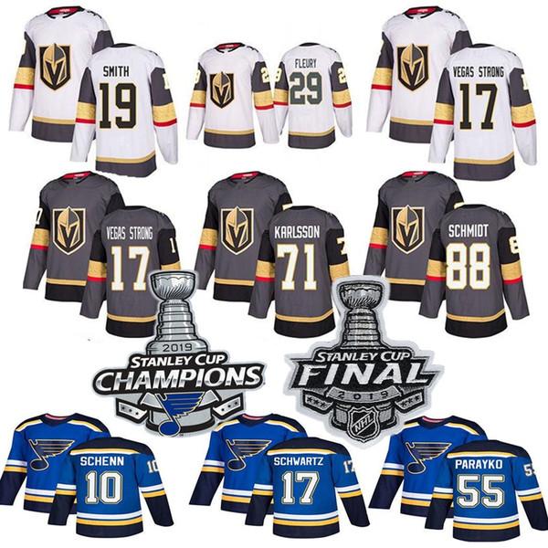 2019 Stanley Cup Meister Vegas Golden Knights St. Louis Blau 29 Marc-Andre Fleury 90 Ryan O'Reilly 50 Binnington Hockey Trikot