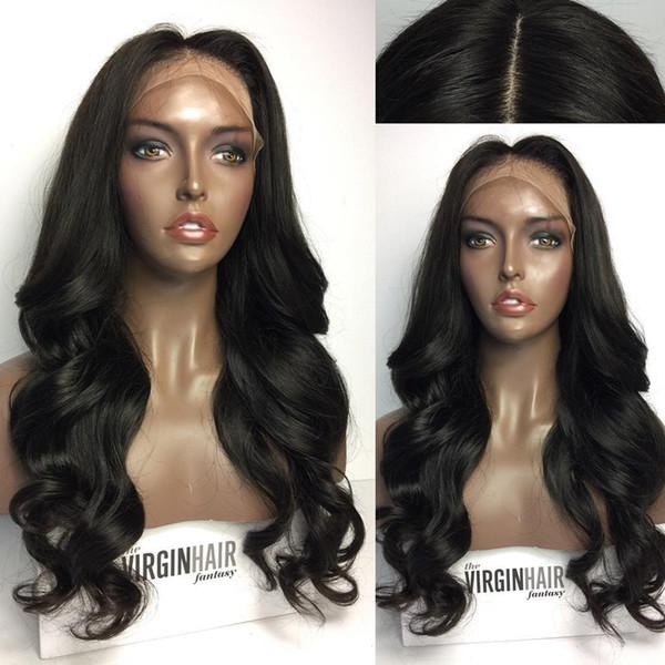 8a Glueless Lace Front 100% Perucas de Cabelo Humano Não Transformados Peruca Cheia Do Laço Peruano Solto Profundo para As Mulheres Negras com cabelo do bebê