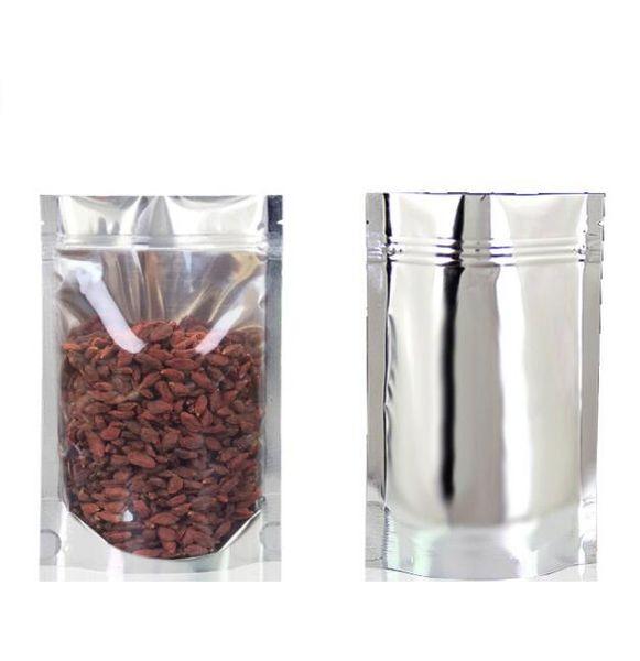 Aluminiumfolie Bag Front durchsichtigem Kunststoff Folienverpackung Tasche Durchlässiger Mylar Verpackungsbeutel Resealable Geruch Proof-Speicher-Beutel GGA2710
