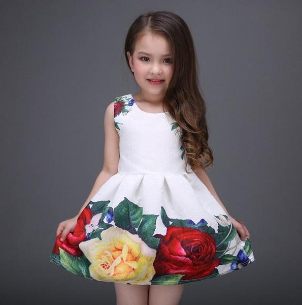 2019 meninas de verão vestido branco designer de marca nova roupa das crianças rosa flor princesa festa de casamento menina vestido