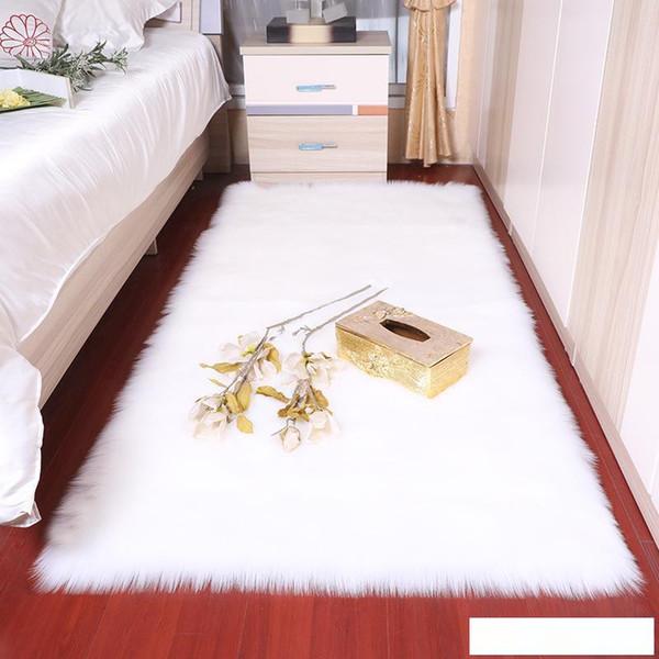 Retângulo macio macio Faux carneiro Fur tapetes de área nórdico centro vermelho sala de estar tapete Pavimento Branco Faux Fur cabeceira Rug