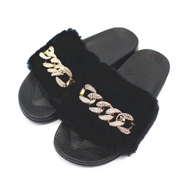 Fashion Women Slippers Winter Warm Fur Slippers Diamante Chain Flip Flops Anti Slip Comfortable Indoor Flats Wholesale