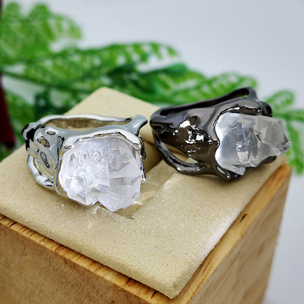 fashion iceberg crystal black white color huge clear irregular stone ring for women females hip hop punk jewelry gift sale