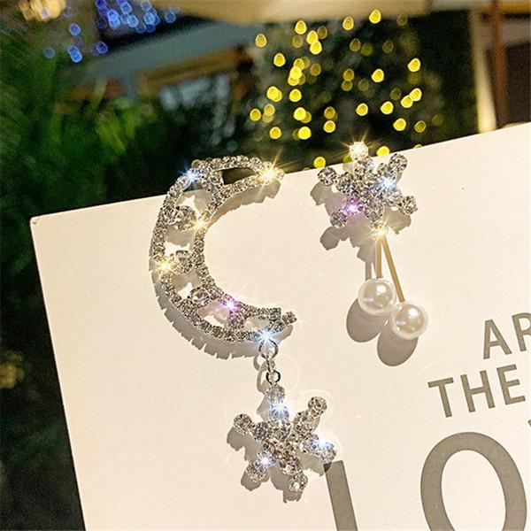 Pendiente de gota de cristal de asimetría FYUAN para mujer Color plateado brillante Luna Copo de nieve Diamante de imitación Pendiente colgante Joyería del banquete de boda