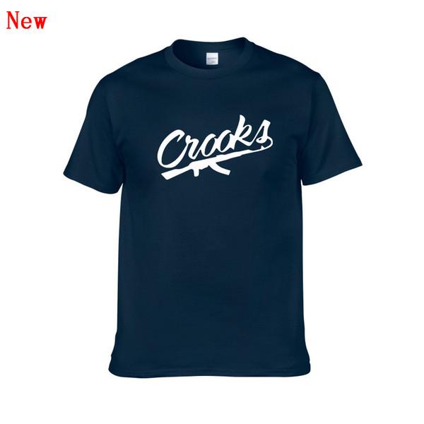 Maglietta di modo degli uomini liberi di trasporto Crooks Castles Stampato Mens Divertente Hip Hop Hipster Top Nero Colore manica corta ZG10