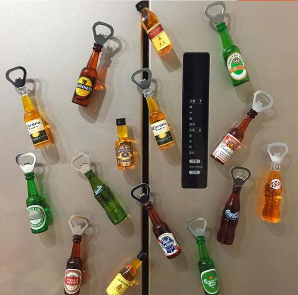 3 pcs 3d adultes bouteille de bière ouvre un réfrigérateur tournevis autocollant créatif décoration maison ins nordic corona autocollant magnétique