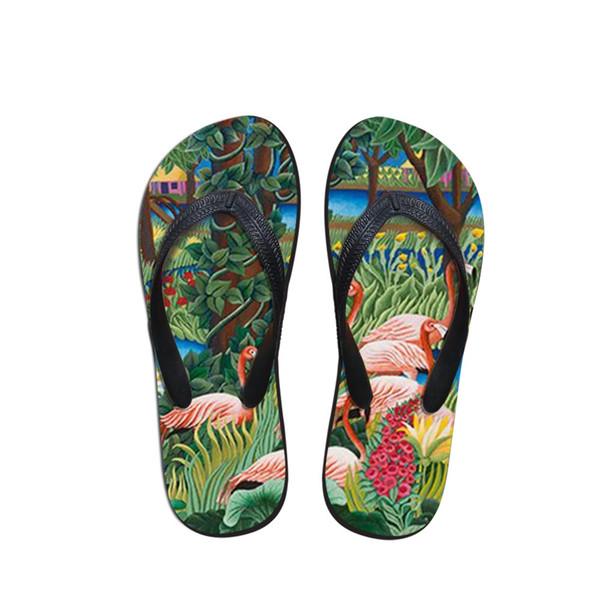 Homem de conforto Flip Flops Praia Anti-slip Sandálias Casuais Anti-Slip Unisex Sapatos Baixos Animais e Flamingos Pintura Chinelos de Impressão