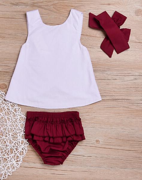 Emmababy 3 teile / satz Mode Kinder Baby Mädchen Prinzessin Pure White Zurück Kreuz Weste Top + Weinrot Bloomer Shorts + Stirnband Kleidung Outfit