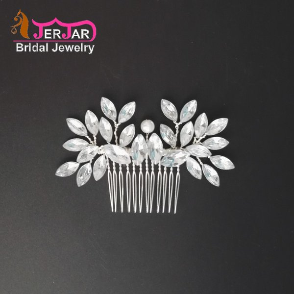 Fashion Wedding Bridal Hair Jewelry Personality Women Acrylic Hair Combs Bridesmaid Silver Headpiece Pearl Party Hair Jewelry Accessories