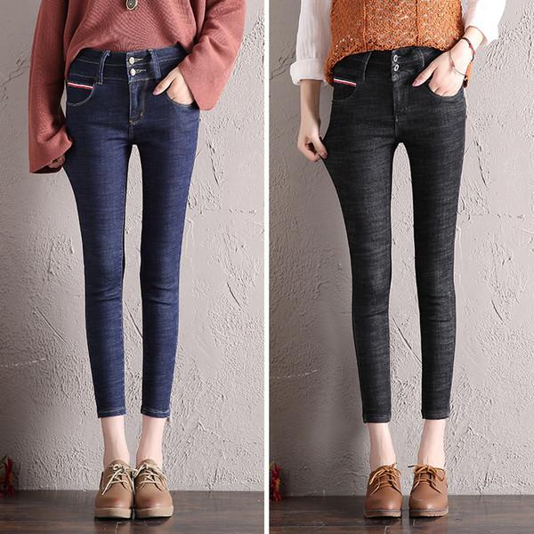 2019 Женщины Тощий джинсовой карандаш брюки высокой талии Тонкий Карманы Брюки Женщины Stretch однобортный черный джинсы Плюс Размер