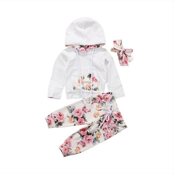 Nouveau-né Bébés Filles Floral Outfit Survêtement À Capuche Hauts Manches Longues + Pantalon À Fleurs + Bandeau 3 Pcs Ensemble Infant Toddler Automne Vêtements