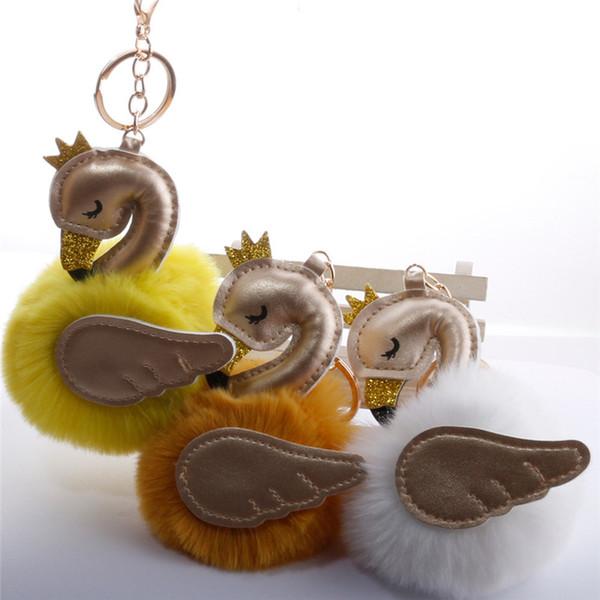 High quality Pu leather Cartoon Flamingo Keychain Fluffy Artificial Rabbit Fur Ball Key Chain Car Bag Key Ring Pendant 30 Colors Jewelry Gif