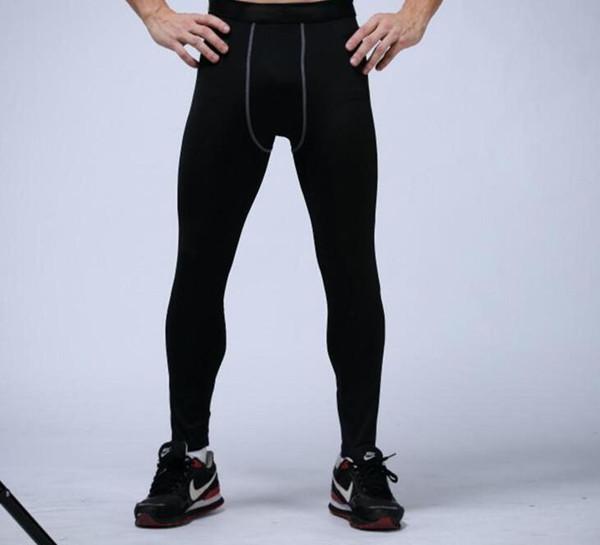 pantalones para hombre de compresión de los deportes de baloncesto Mallas para correr los pantalones de gimnasia culturismo corredores polainas de los pantalones flacos de cuerpo entero del envío