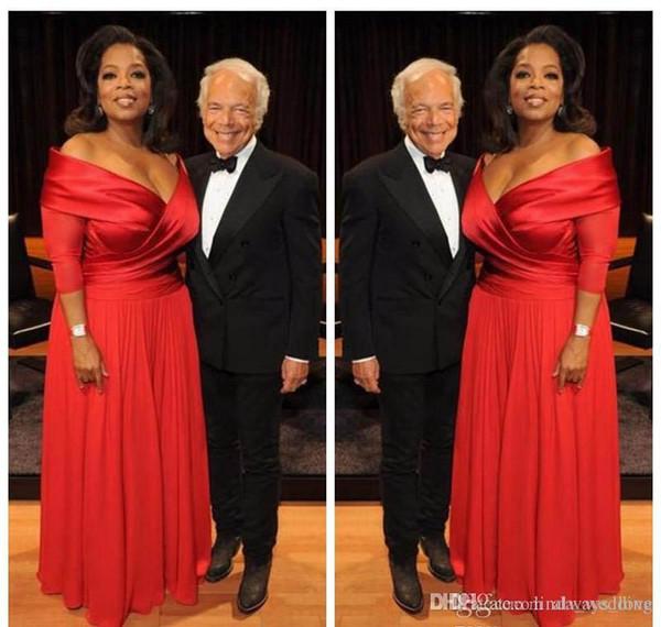 2019 elegante Oprah Winfrey New Red Off The Shoulder vestido de noite longo Chiffon Formal desgaste do feriado vestido de festa Custom Made Plus Size