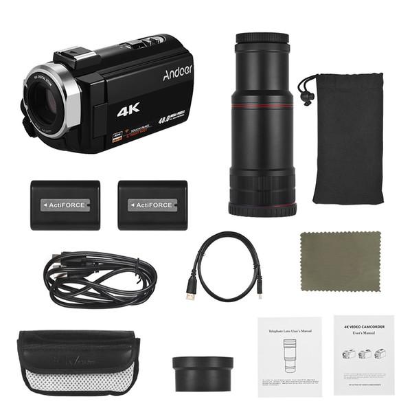 Caméra vidéo numérique Andoer 4K HD DV avec zoom numérique 16X Caméscope WiFi IR avec vision nocturne avec piles 2pcs 8X téléobjectif