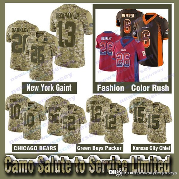 sale retailer 77f92 6a39d 2019 15 Patrick Mahomes 26 Saquon Barkley Salute To Service Limited Jersey  52 Khalil Mack 12 Aaron Rodgers 10 Mitchell Trubisky Odell Beckham From ...