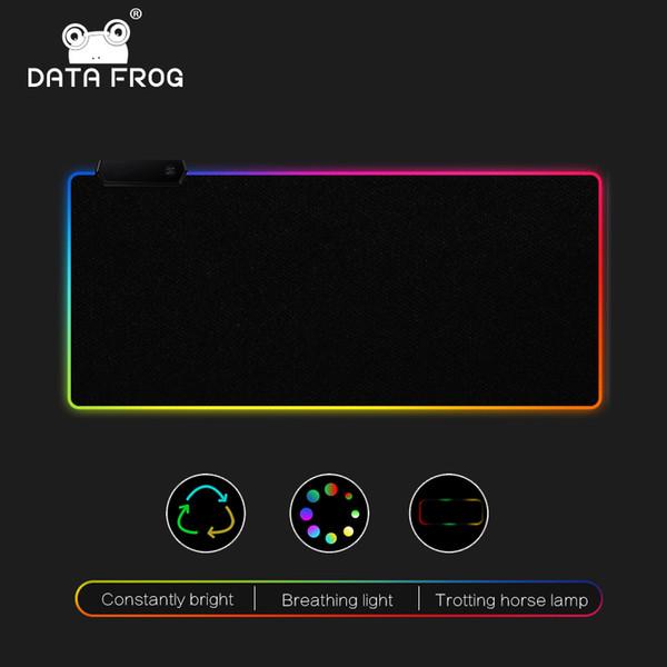 DATA FROG LED RGB Tapis de souris Grand tapis de souris USB Filaire Éclairage Gaming Mousepad Antidérapant 7 Options de Couleur pour PC Ordinateur Portable