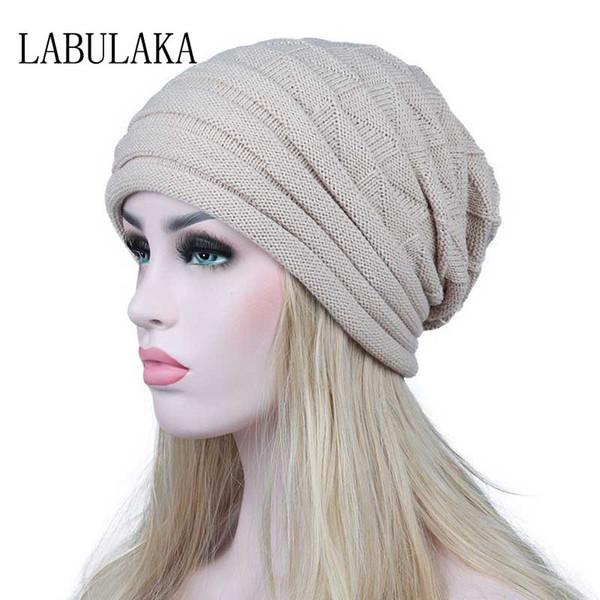 Winter Hats for Women Knit Warm Cap Slouchy Skullies Beanies Ladies Hats Female Thick Geometric Print Baggy Caps Fashion Bonnet S18120302