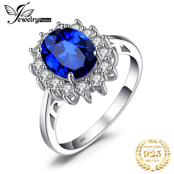 Jewelrypalace 3.2ct Birthstone Created Blue Sapphire Princess Diana Halo Promise 925 Sterling Silver Ring Size 4-12 Fine Jewelry MX190726