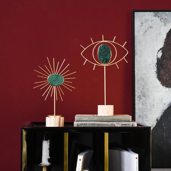 Yaratıcı metal ışık lüks akik taş tasarımcı modeli oturma odası pencere dekorasyon mobilyalar ev zanaat süsler