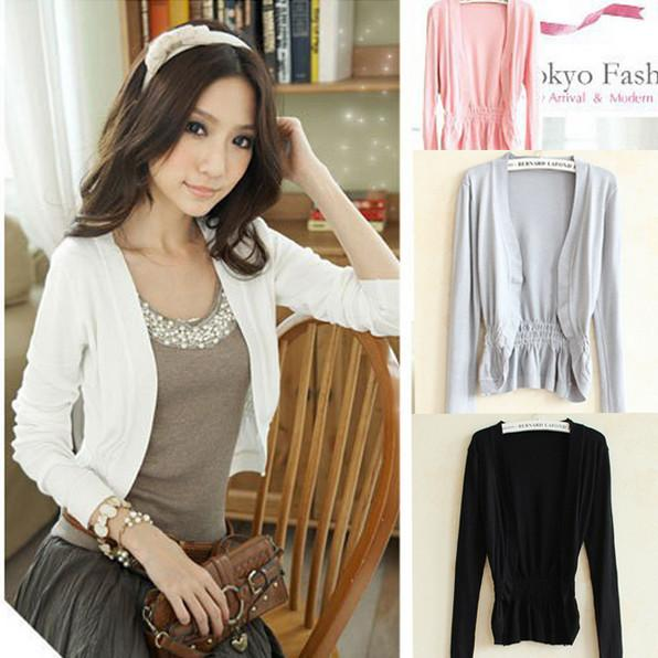 Short Women Cardigan Long Sleeve Knitted Outerwear Sweater Cape Top Sweet Candy Color Coat Lace Slim Crochet Shrug
