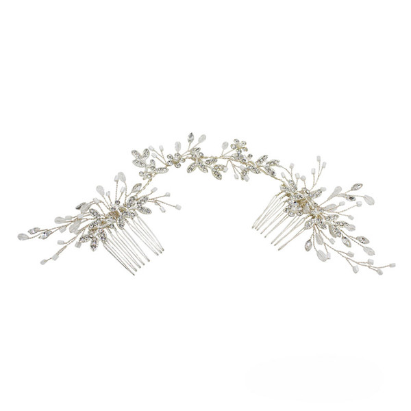 wholesale Handmade Silver Color Bridal Long Hair Comb Rhinestone Accessories Women Headpiece Wedding Hair Ornament