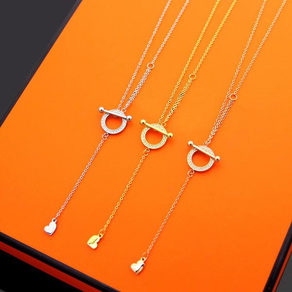 New Arrive Fashion Lady 316L Titanium steel OT Clasp H Letter 18K Plated Gold Necklaces With Tassels Diamond Heart Pendant 3 Color