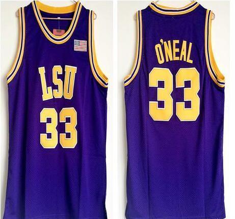NCAA da faculdade dos homens LSU Tigers # 33 Shaq O'NEAL Roxo amarelo Basketball Jersey