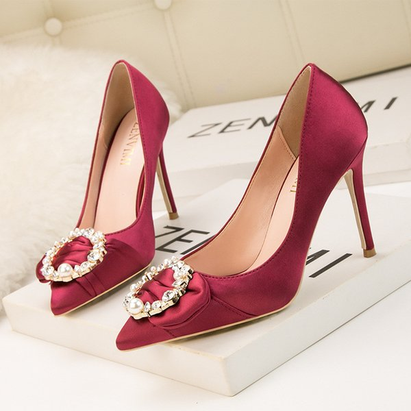 Pearl High Heel With Box Women Pu Shoes Outdoor Nightclub Party