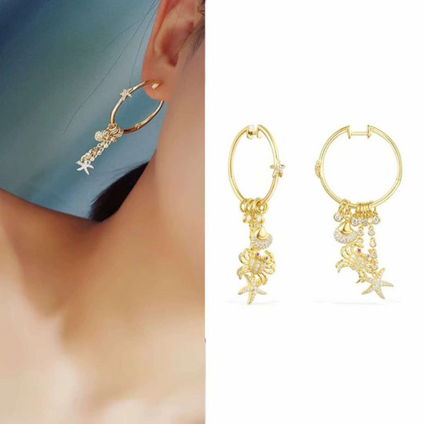 Boucles d'oreilles pour femmes en été plaqué or jaune CZ Crab Seafish pour les filles