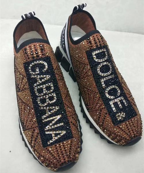 Branded Men RHINESTONES Maglia in tessuto stretch Maglia Sorrento Sneaker slip on Donna Stampa Lettera in gomma Micro Sole Casual Scarpe Ten Colore