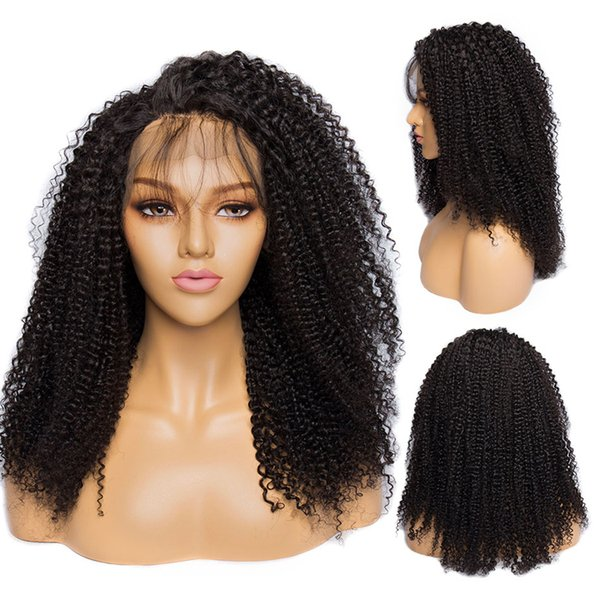 my queen 100% unprocessed virgin human hair full lace wigs kinky curly Front lace wig pre plucked hairline 180 density