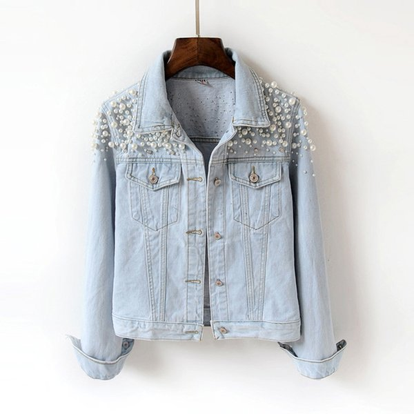 Heavy industry with the new age season cultivate one's morality drill nail bead long-sleeved short jean jacket female jacket