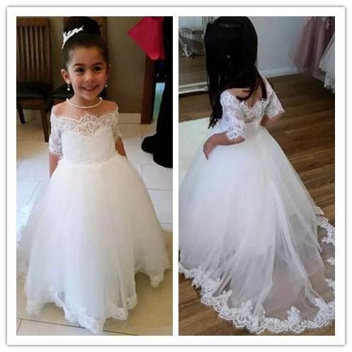 2019 Lace Flower Girl Dresses For Wedding Ball Gown Half Sleeve Kids Evening Dress Holy Communion Dresses For Girls Pageant Gown Inexpensive Pageant