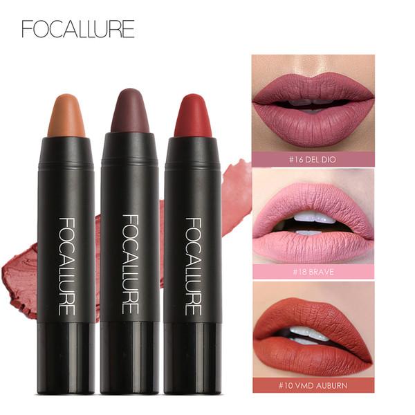 FOCALLURE 19 Colors Matte Lipsticks Waterproof Long Lasting Matte Lip Sticks Pencil Cosmetic Easy to Wear Makeup Set 12pcs