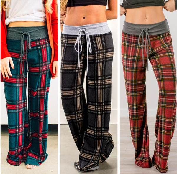 top popular Plaid Wide Leg Drawstring Pants 3 Colors Women Fashion Grid Print Loose Long Pants Casual Plaid Trousers Loose Sports Yoga Pants OOA6169 2020