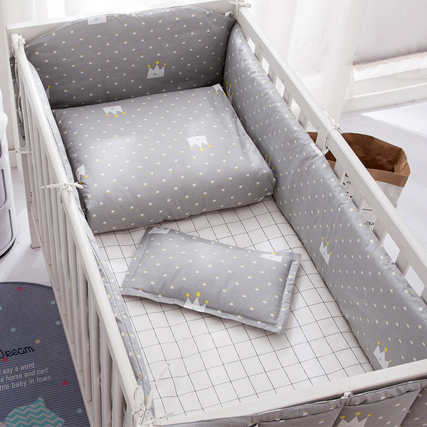 best selling Grey Unisex Baby Crib bumpers kit Cotton Baby Supplies Safety guard Crib Bumper Bedding Duvet Cover Sheet