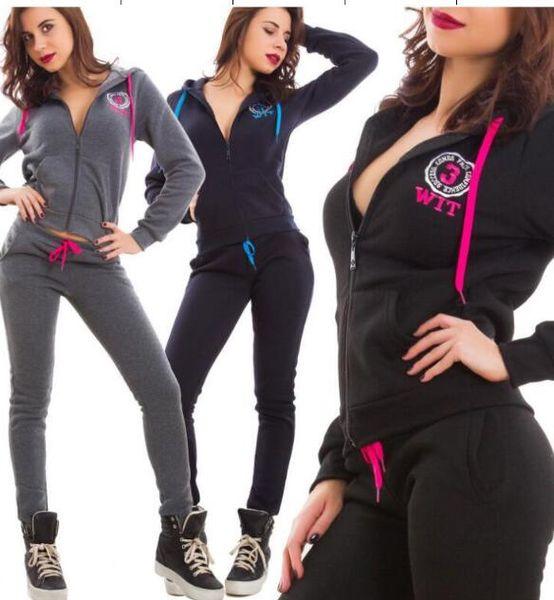 CVB33 women long sleeve patchwork zipper hoodies + legging long pants 2pcs sporting women's set tracksuits 2piece set sportswear