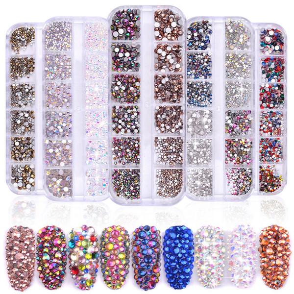 1 Box Multi Size Glass Nail Rhinestones Mixed Colors Flat-back AB Crystal Strass 3D Charm Gems DIY Manicure Nail Art Decorations C19011401