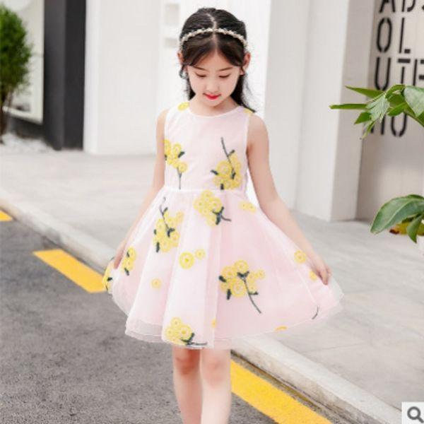 Yeni 2019 çocuk Elbise İlkbahar / Yaz Kızlar Jakarlı Nakış Yaka Elbise 3 Renkler Size4-14 Prenses Hiçbir Kollu Elbise ly218